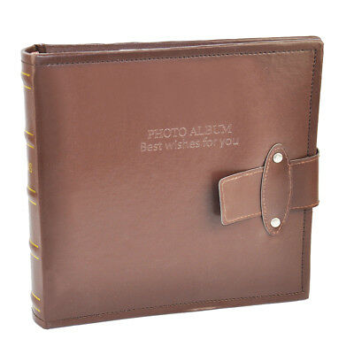 "6x4"" 200 Photos Large PU Leather Slip in Photo Album Brown Vintage Memo Book New"