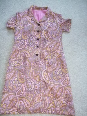 vintage retro 70s 60s brown yellow pink paisley dress 12 14 mod scooter leather