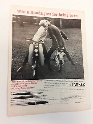 1965 Honda Motor Bike - Sexy Girl & Parker Pen  - Ad Original