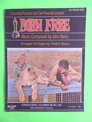 Born Free-  sheet music -1966 - arranged for organ by Frederick Bayco