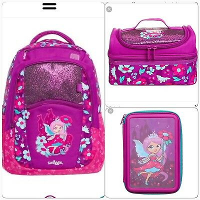 Smiggle Glitter Fairy Backpack, Pencil Case & Lunch Box Bundle Bnw