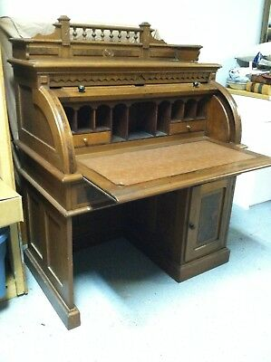 Antique Victorian Burl Cylinder Roll Secretary Desk, Beautiful Walnut from 1870s