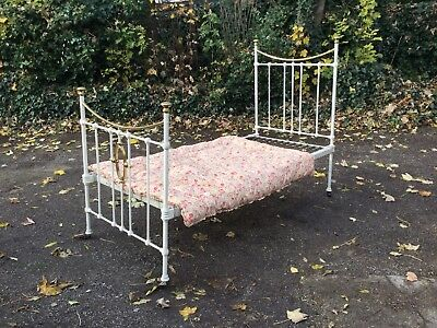 Single Antique Victorian Brass Bed White and Gold - great condition