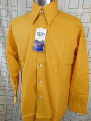 Vintage 60s Mustard Gold Blue Sea Dress Shirt New/Old Stock - Never Worn 15.5 M