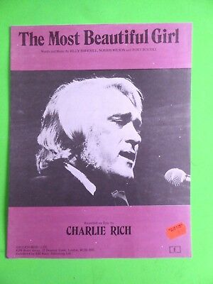 The Most Beautiful Girl - sheet music -1972- recorded by Charlie Rich