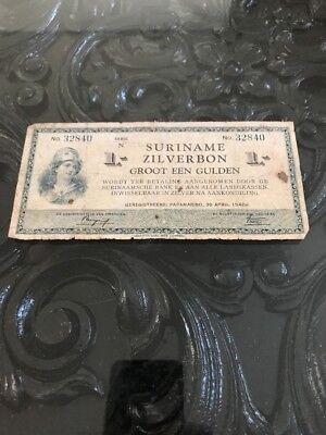 Suriname Zilverbon 1  Gulden  Bank  Note   1942 Netherlands