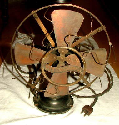 """Vtg WESTINGHOUSE 8"""" Brass Looking Blades Antique Electric Fan Style 10 446A"""