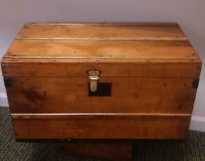 Vintage FLAT TOP STEAMER TRUNK..COFFEE TABLE..FREE SHIPPING!