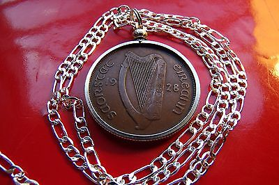 "2Rare 1928 Irish Antique Lucky Penny Pendant on a 20"" 925 Sterling Silver Chain"