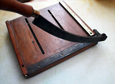 Vintage antique wooden metal paper guillotine office collectable ruler