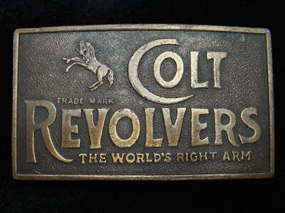 QH05106 VINTAGE 1970s **COLT REVOLVERS THE WORLD'S RIGHT ARM** BELT BUCKLE