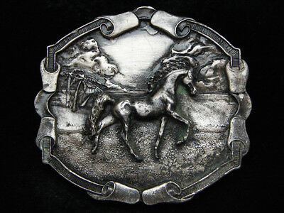 Pd13150 Vintage 1976 **arabian Horse** Artwork Pewter Bergamot Belt Buckle
