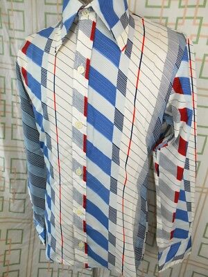 Vintage 1970s Red White & Blue Polyester Saxon Tight Fitted Disco Party Shirt S