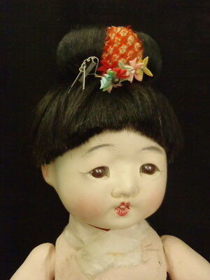 "Antique Large 15"" Rare Japanese Paper-Mache Ichimatsu Child Doll"