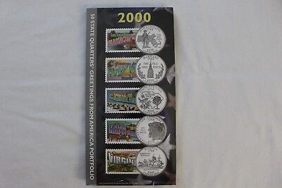 NEW 2000 50 State Quarters Greetings from America Stamps Portfolio US Mint USPS