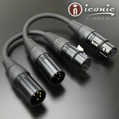 DMX Lighting Converter  Adapter Cable 5-Pin Male to 3-Pin Female 2 Pack