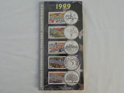 NEW 1999 50 State Quarters Greetings from America Stamps Portfolio US Mint USPS