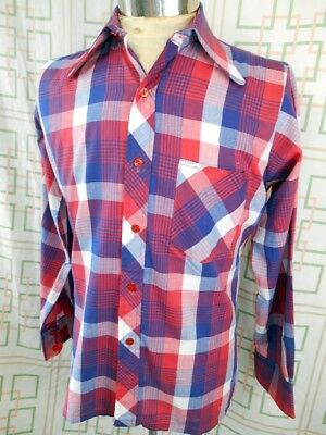 Vintage 60s 70s Red White & Blue Plaid Poly/Cotton Heino Disco Party Shirt Small