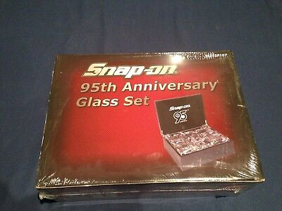 Snap-On 95th Anniversary Glass Set with Case New Unopened