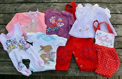 Vintage baby & toddler clothes lot: animals unisex boy girl doll applique red