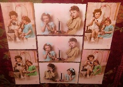 Estate 7 x Deco 1920s French Children On The Phone Photo Greeting Postcards