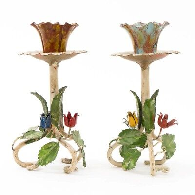 "2 Vintage Italian Metal Toleware Candlesticks 6 3/4"" T Flower Candle Holders"