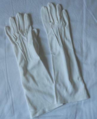 Vintage 1960's Dents Ladies White Nylon Simplex Mid Forearm Length Gloves 7