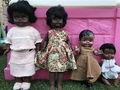 Vintage African American Black Baby Dolls Jointed  Americana - Lot of 4