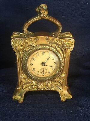 Antique Small Heavy Brass Carriage or Vanity Wind Up Clock Pat 1894 not working