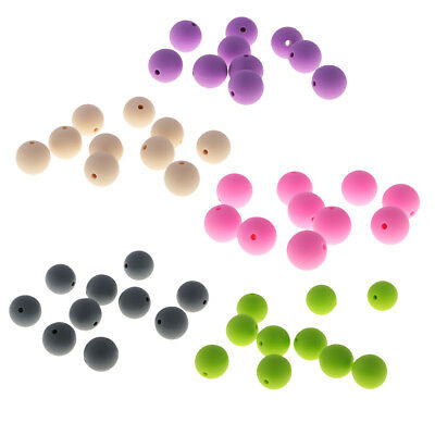 50pcs Round Silicone Beads Infant Nursing DIY Findings for Necklace Bracelet