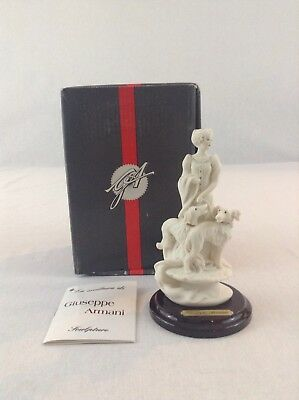 Giuseppe Armani Miniature Art Sculpture Statue #245F Lady With Dogs Figurine