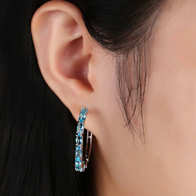New 1 Pair Elegant Women Silver Plated Crystal Rhinestone Hoop Fashion Earrings