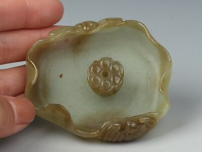 China Exquisite Hand-carved Lotus and dragonflies carving Hetian jade Brush Wash