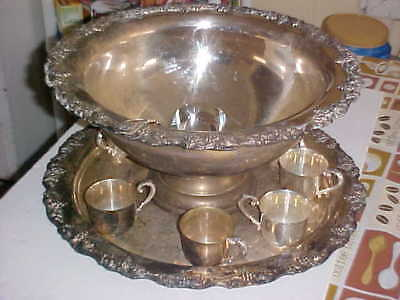 Sheridan Punch Bowl Set for 7 - Silver Plated RARE