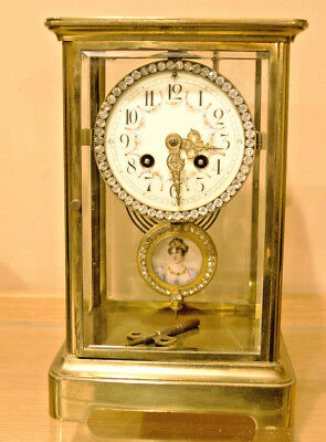 French Japy Freres Mantel Clock, Crystal Regulator