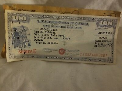US Savings Bond Series E $100 C2 092 440 728 E. 1979 series, very fine, VINTAGE