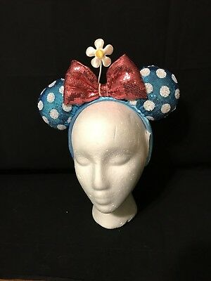 Disney Parks Blue Sequin Polka Dot Steamboat Timeless Minnie Mouse Ears Headband