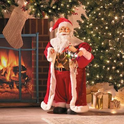 3 lighted animated musical santa claus figure christmas holiday decor indoor