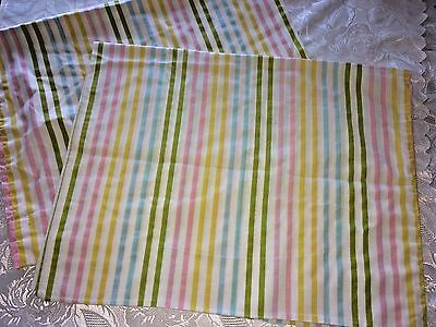 Vtg Pillow Cases Candy Stripes Pink Turquoise Mid Century Muslin Stevens Utica