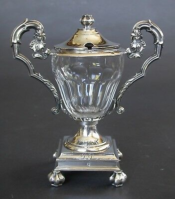 Antique French Sterling + Crystal Mustard Pot E.a. Courtois Paris 1834-1847
