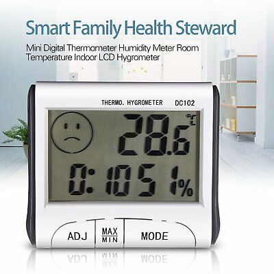 Digital LCD Thermometer Humidity Meter Clock Room Car Indoor Hygrometer Battery
