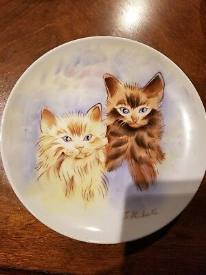 Vintage Norleans Hand Painted Tabby Cat Collector's Plate by T. Shibata 7 3/8""