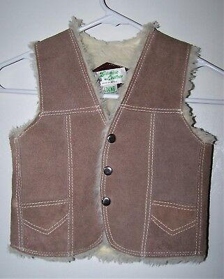 """26"""" Chest 7/8 Small Tan Sherpa Suede COWBOY COWGIRL WESTERN Leather VEST Ranch"""