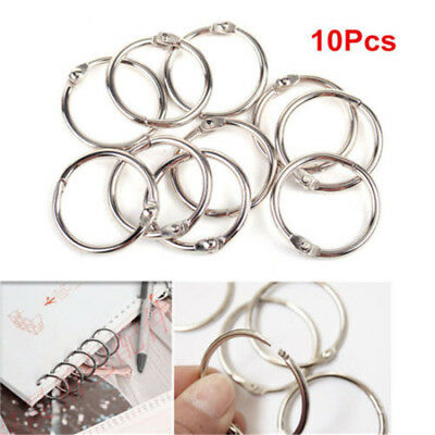 10pcs Loose Leaf Book Binder Metal Hinge Locking Rings Scrapbooking 25mm