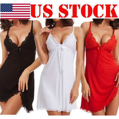 USA Plus Size Women Sexy Lingerie Lace Dress Underwear Babydoll Sleepwear Dress
