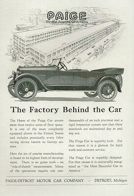 1919 Paige Detroit Motor Car Company Factory Vintage Print Ad Most Beautiful