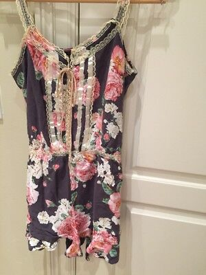 Wildfox Couture Romper Intimates Jumper M Boho Floral