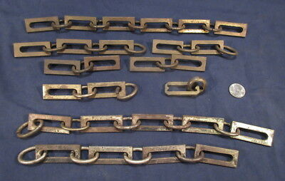 Lot Antique Square Chain Light Fixture Links and Loops Steel  As is cond. #10