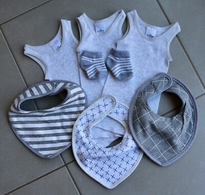 Newborn Mixed Items GREY Pack! Singlets, Socks, Bibs! Washed Never Used! 000