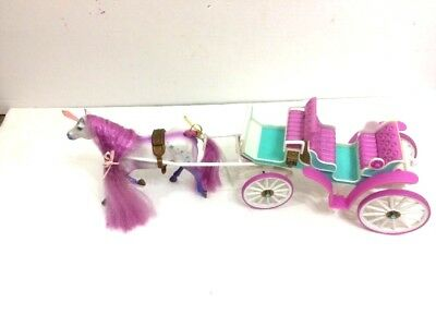 Fantasy Fillies 1996 Empire Kristel Unicorn horse & Enchanted Carriage Vintage